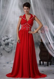 V-neck Beaded Ruched Chiffon Prom Dress with Brush Train in Red