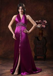 Fuchsia Halter Beaded Formal Prom Dress with High Slit in Redmond