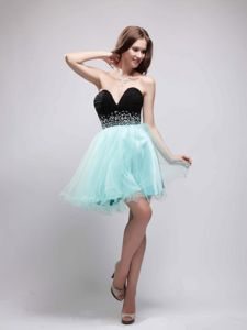 Black and Apple Green Sweetheart Short Prom Gowns with Beading