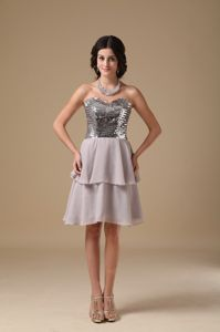 Grey Sweetheart Mini-length Chiffon Sequined Prom Dress in Appleton