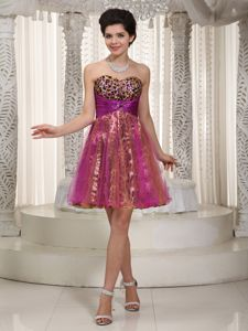 Colorful Sweetheart Mini-length Leopard Beaded Prom Dress in Brookfield