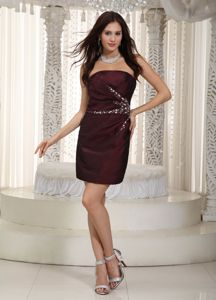 Strapless Mini-length Beaded Taffeta Prom Cocktail Dress Burgundy