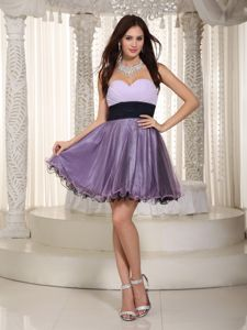 Purple Sweetheart Mini-length Organza Ruched Prom Cocktail Dress