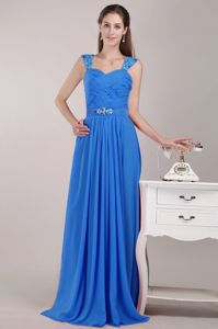 Aqua Blue Straps Floor-length Chiffon Beaded Prom Pageant Dress