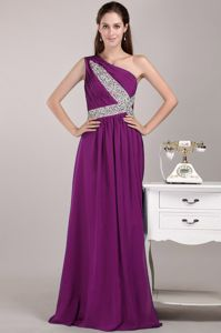 Fuchsia One Shoulder Floor-length Chiffon Sequined Prom Gown in Madison