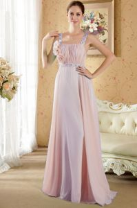 Chiffon Beaded Prom Gowns with Hand Made Flowers in Light Pink