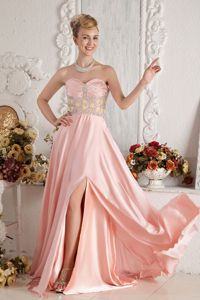 Sweetheart Beaded Prom Dress with Brush Train in Baby Pink in Oshkosh