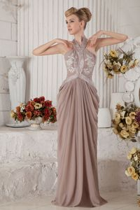 Brown Halter Chiffon Appliqued Prom Dress with Brush Train in Madison