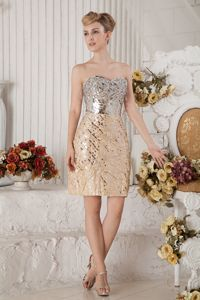 Champagne Sweetheart Beaded Short Prom Dress with Sequins in Appleton