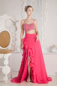 Hot Pink Beaded Straps Chiffon Prom Dress with Court Train in Wausau