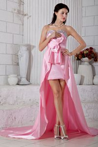 Rose Pink Beaded Sweetheart High-low Taffeta Prom Evening Dress