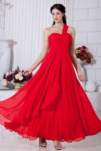 One Shoulder Ruched Prom Evening Dress Ankle-length in Red in Oshkosh