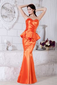 Orange Red Mermaid Sweetheart Ruched Prom Dresses Floor-length