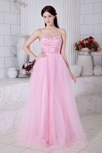 A-line Sweetheart Beaded Prom Evening Dress in Baby Pink in Waukesha