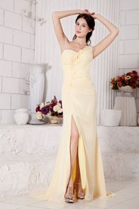 Light Yellow One Shoulder Hand Flowery Prom Dress with High Slit