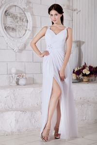 White Straps Beaded Floor-length Prom Evening Dresses in Chiffon
