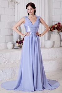 V-neck Beaded Prom Evening Dress with Brush Train in Lilac in Waukesha