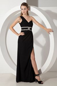 Black One Shoulder Chiffon Prom Dresses with Silver Beading in Madison