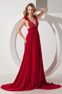 A-line Brush Train Chiffon Beaded Prom Dresses in Wine Red in Oshkosh