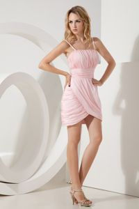 Pink Straps Mini-length Taffeta Prom Dress with Ruches in Milwaukee