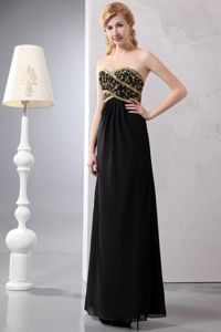 Sweetheart Sequined Ankle-length Chiffon Prom Dresses in Black in Racine
