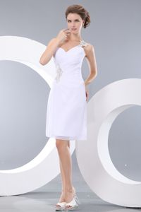One Shoulder Mini-length Prom Dress with Appliques in White in Kenosha