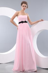 Baby Pink Strapless Elegant Prom Dress in Chiffon with Belt in Brookfield