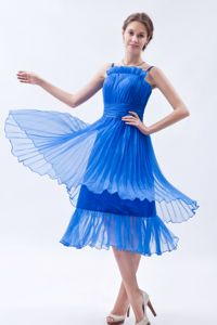Blue Straps Tea-length Prom Gown Dress in Organza with Ruches in Madison