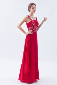Straps Beaded Floor-length Chiffon Prom Dress in Coral Red in Kenosha