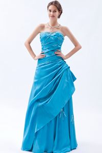 Teal Strapless Taffeta Floor-length Prom Gown Dress with Beading