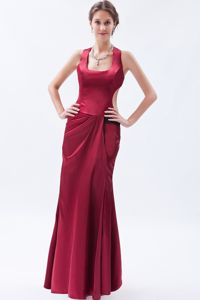 Satin Floor-length Prom Gown Dresses in Wine Red in Brookfield WI