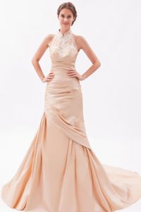 Champagne Mermaid Embroidered Prom Gown with Court Train in Oshkosh