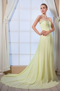 Sweetheart Beaded Prom Dress with Brush Train in Yellow Green in Racine