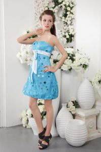 Strapless Short Tulle Sequined Prom Cocktail Dress in Blue in La Crosse