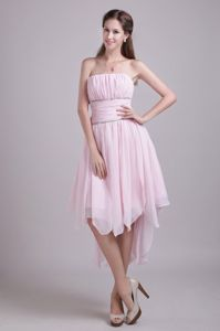 Strapless High-low Chiffon Beaded Prom Gown Dress in Pink in Tacoma