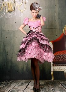 Multi-tiered Short Puff Sleeves Prom Gown with Ruffles Under 200