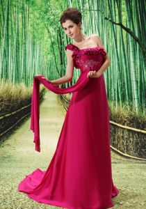 Sweep Train Fuchsia One Shoulder Prom Dresses with Embroidery