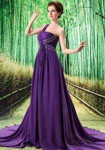 Most Popular Beading Purple Dress for Prom Court Train in Florence