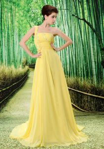 Voguish Yellow Brush Train Appliqued Prom Outfits in Rossendale