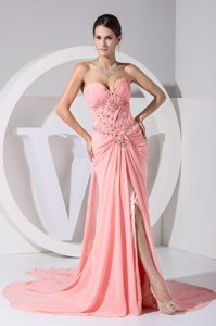 Watermelon Sweetheart Beaded Watteau Train Prom Gown with Slit