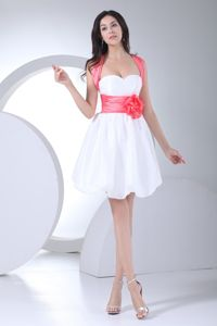 Cute Organza Short Prom Gowns with Hand Made Flowers and Bow