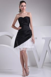 Two-toned Taffeta and Tulle Sweetheart Prom Attires with Side Zipper