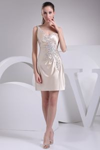 Champagne Satin One Shoulder Prom Gown Dress with Beads in Down