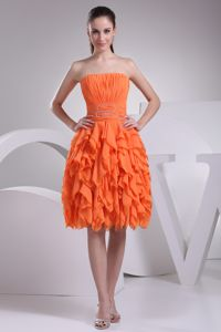 Cheap Orange Ruched and Ruffled Prom Gown with Beaded Waist