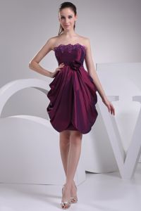Hot Draped Lace Hem Strapless Dress for Prom with Flower Accent