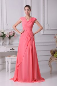 Flattering V-neck Ruched Watermelon Prom Outfits in Warrenpoint Down