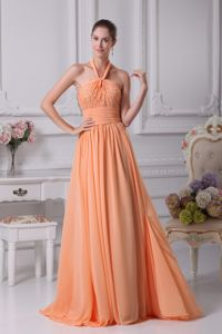 Exquisite Orange Halter Dress for Prom with Beading in Lancashire