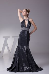 Black Halter Plunging Beading Prom Gown Dress with Sweep Train