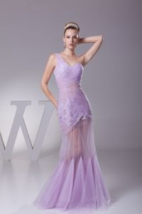 Best Lavender Tulle Mermaid Prom Attire with Appliques and Ruche