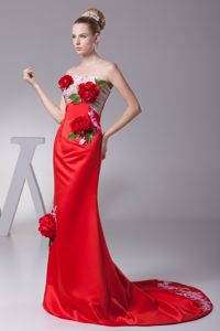 Hand Made Flowers and Appliques Accent Prom Gown Brush Train